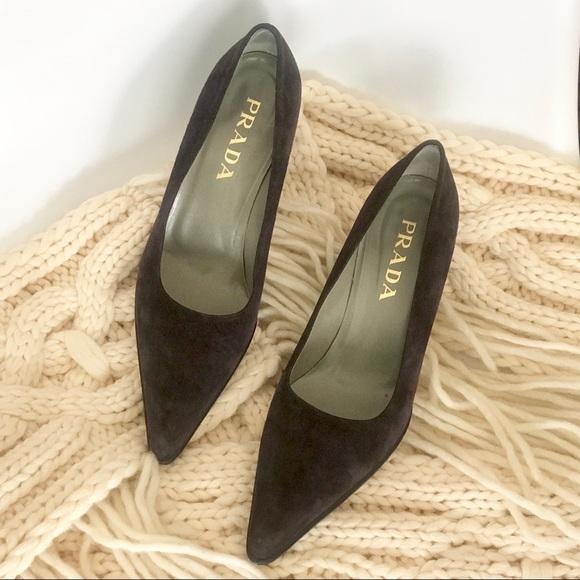 9ed11d322 Prada Shoes | Suede Low Pumps Pointed Toe Block Heels | Poshmark
